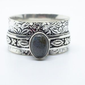 Labradorite Spinner Ring 925 Sterling Silver